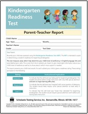 Kindergarten Readiness Test: Parent/Teacher Report - Product Image
