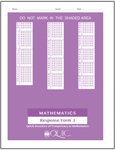 QUIC J Mathematics Self-Scoring - Package of 20 Response Forms - Product Image