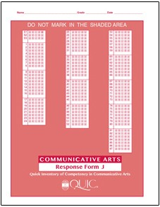 QUIC J Communicative Arts Self-Scoring - Package of 20 Response Form - Product Image